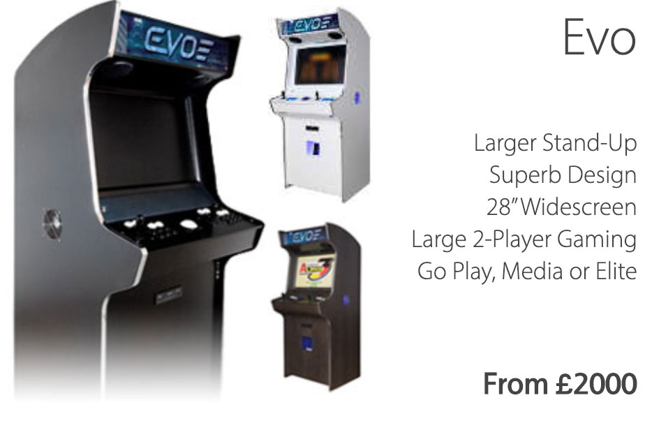 Evo Arcade Cabinet with information