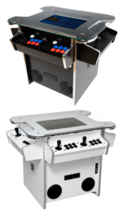 synergy arcade machine in white and black